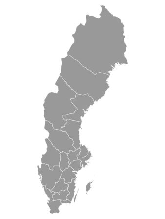 Grey Map of Regions of Sweden