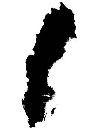 Czarna mapa Szwecji na białym tle Ilustracje wektorowe