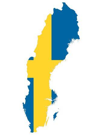 Kombinierte Karte und Flagge von Schweden