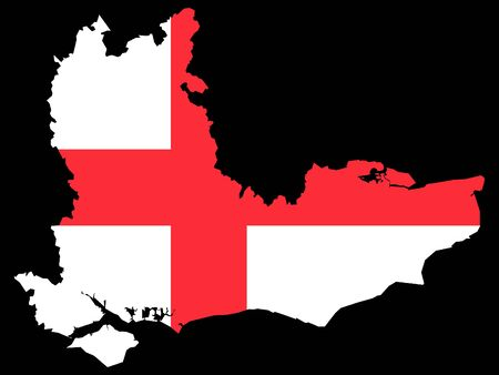 Combined Map and Flag of of the English Region of Southeast England 일러스트