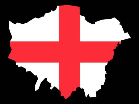 Combined Map and Flag of of the English Region of London