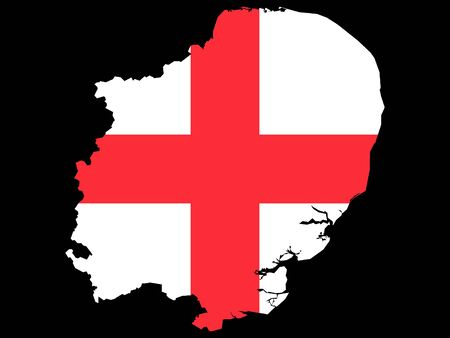 Combined Map and Flag of of the English Region of East of England