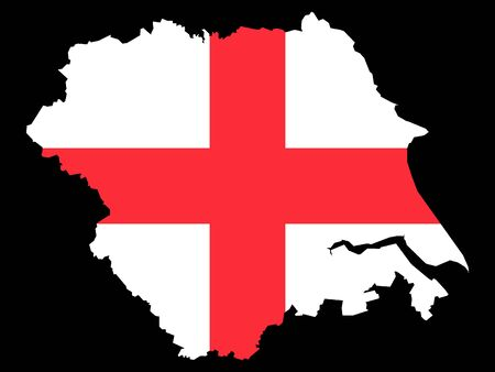 Combined Map and Flag of of the English Region of Yorkshire and the Humber