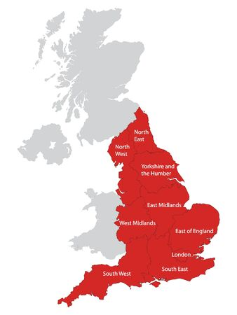 Red Map of Regions of England With Name Tags