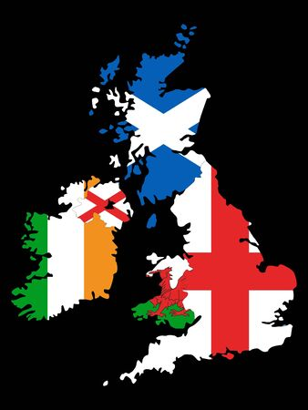 Combined Maps and Flags of United Kingdom and Ireland on Black Background 일러스트