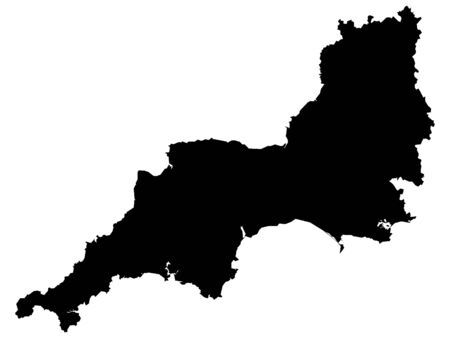 Black Map of the English Region of Southwest England