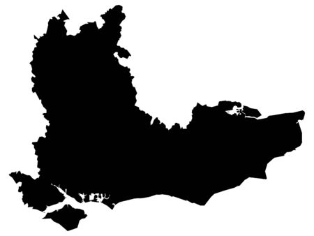 Black Map of the English Region of Southeast England 스톡 콘텐츠 - 133166365