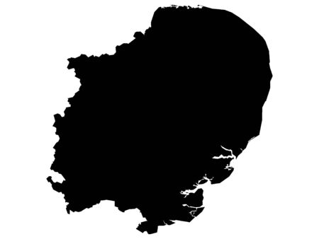 Black Map of the English Region of East of England