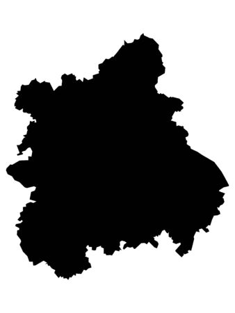 Black Map of the English Region of West Midlands 일러스트