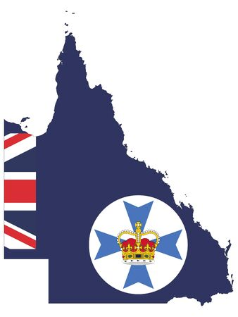 Combined Map and Flag of the Australian State of Queensland