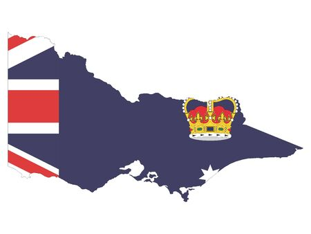 Combined Map and Flag of the Australian State of Victoria Stok Fotoğraf - 133189829
