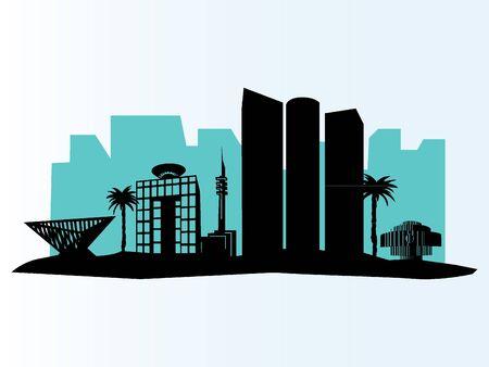 Blue City Skyline of Tel Aviv