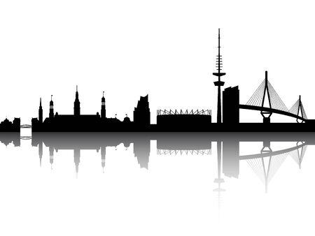 Silhouette Skyline of Hamburg, Germany