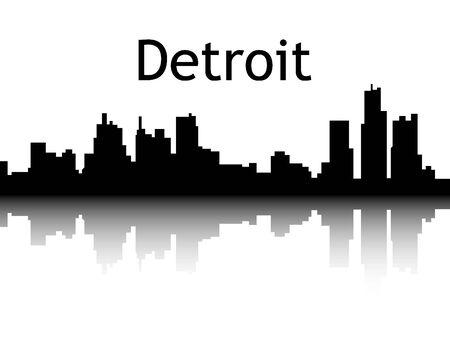 Silhouette Skyline of Detroit, Michigan