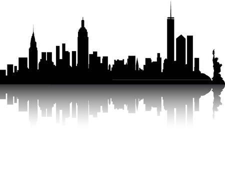 Silhouette Skyline of New York City, New York