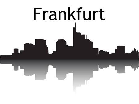 Silhouette Skyline of Frankfurt am Main, Germany Ilustração