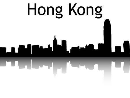 Silhouette Skyline of Hong Kong Иллюстрация