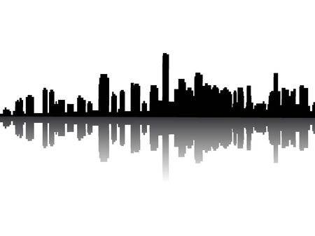 Silhouette Skyline of Miami, Florida Illusztráció