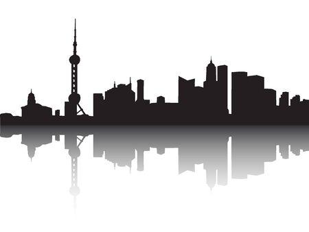 Silhouette Skyline of Shanghai, China