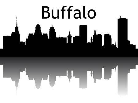 Silhouette Skyline of Buffalo, New York Иллюстрация
