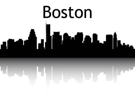 Silhouette Skyline of Boston, Massachusetts