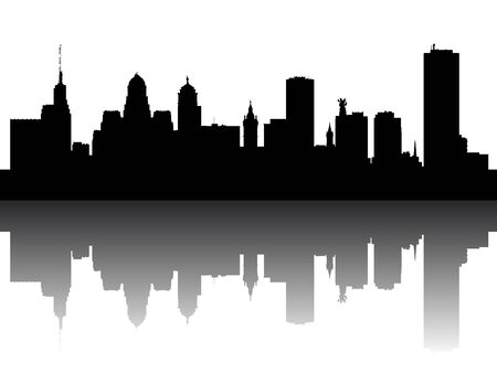 Silhouette Skyline of Buffalo, New York Illustration
