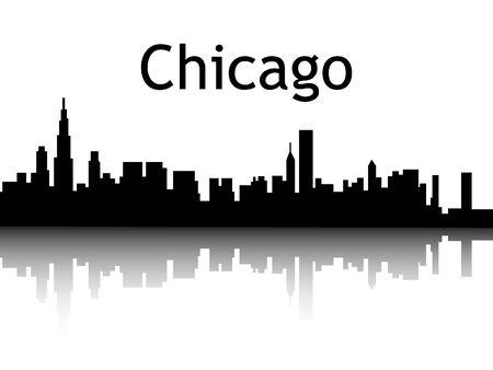 Silhouette Skyline of Chicago, Illinois