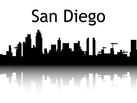 Silhouette Skyline of San Diego, California