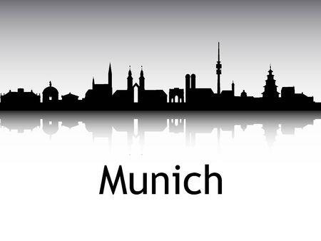 Silhouette Skyline of Munich, Germany Illustration