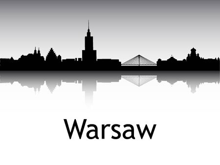 Silhouette Skyline of Warsaw, Poland