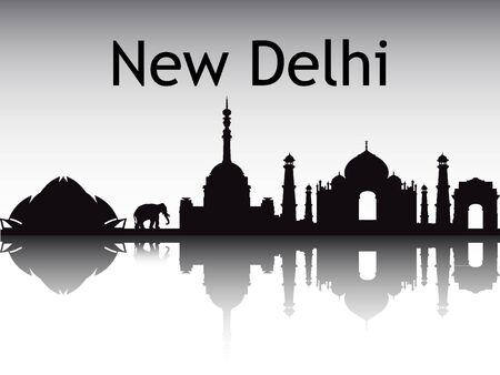 Silhouette Skyline of New Delhi, India
