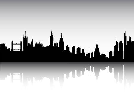 Silhouette Skyline of London, England Illusztráció