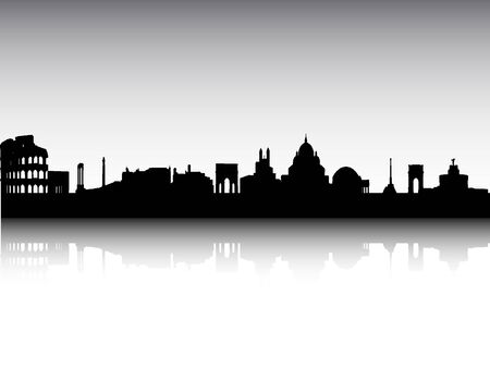 Silhouette Skyline of Rome, Italy