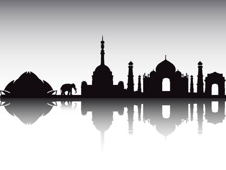 Silhouette Skyline of New Delhi, India