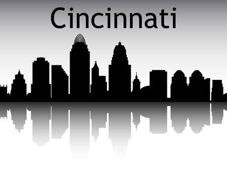 Silhouette Skyline of Cincinnati, Ohio Illusztráció