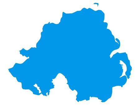 Blue Flat Vector Map of Northern Ireland Illustration