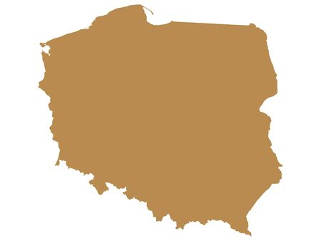 Brown Flat Vector Map of Poland Illusztráció
