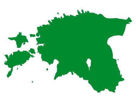 Green Flat Vector Map of Estonia  イラスト・ベクター素材