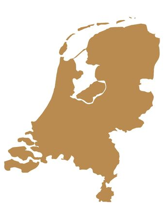 Brown Flat Vector Map of Netherlands