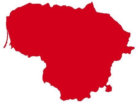 Red Flat Vector Map of Lithuania