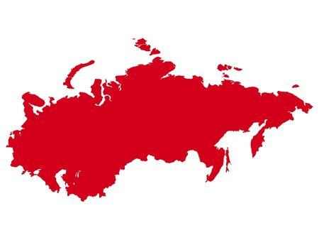Red Flat Vector Map of Soviet Union Illustration
