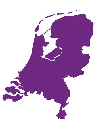 Purple Flat Vector Map of Netherlands 向量圖像