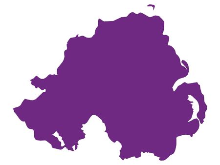 Purple Flat Vector Map of Northern Ireland