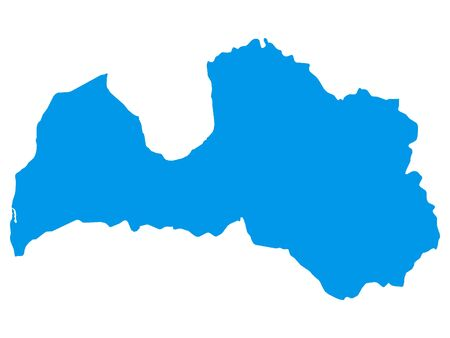 Blue Flat Vector Map of Latvia