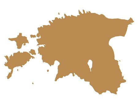 Brown Flat Vector Map of Estonia