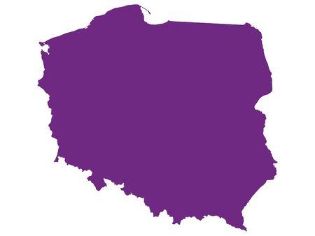 Purple Flat Vector Map of Poland