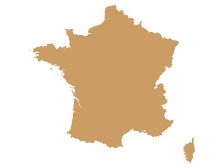 Brown Flat Vector Map of France Çizim