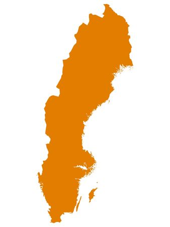 Orange Flat Vector Map of Sweden 向量圖像