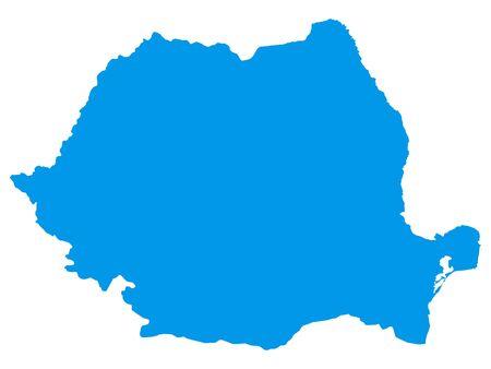 Blue Flat Vector Map of Romania Archivio Fotografico - 133680487