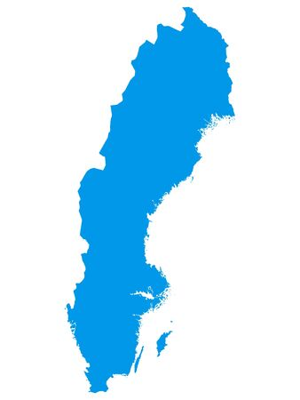 Blue Flat Vector Map of Sweden 向量圖像